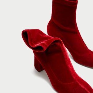 Zara red velvet Ankle Boots
